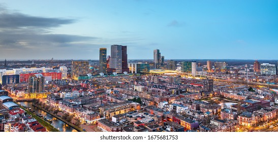 The Hague, Netherlands city centre skyline at twilight.