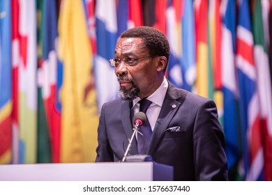 The Hague, Netherlands- December 02 2019 : The president, Chile Eboe-Osuji,  giving his speech at the opening of the International Criminal Court (ICC-CPI) Assembly of States Parties conference
