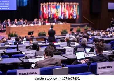 The Hague, Netherlands- December 02 2019 : The International Criminal Court (ICC-CPI) has his Assembly of States Parties conference in the World Forum conference center in The Hague.