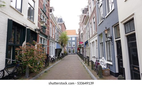 THE HAGUE, NETHERLANDS - DECEMBER 10, 2016: Street view in downtown