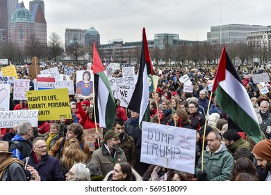 THE HAGUE, THE NETHERLANDS – FEBRUARY 1: Holland Against Hate demonstration against Trumps entry ban on February 1, 2017