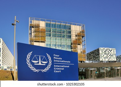 THE HAGUE, NETHERLANDS - FEBRUARY 14,2018: The International Criminal Court entrance sign at the ICC building