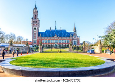 The Hague, Netherlands - February 16, 2018: The Peace Palace in The Hague