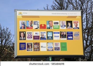 The Hague, The Netherlands - February 21, 2017: Dutch election signs with all the dutch political parties near  the Dutch Parliaments building called het Binnenhof in the Hague