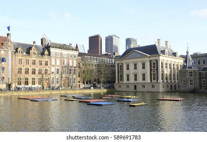 The Hague, The Netherlands - February 21, 2017: The hofvijver in the Hague with the abstract colors of dutch artist Mondriaan to celebrate the founding of art movement  the style a hundred years ago
