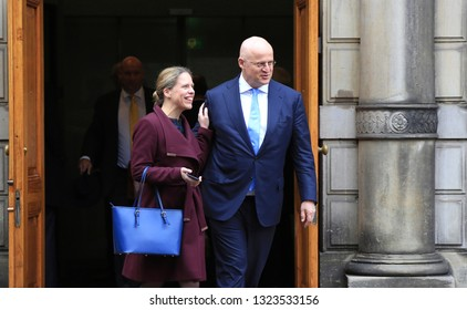 The Hague, The Netherlands - February 22, 2019: Minister of Agriculture, Nature and Food Quality, Carola Schouten and Minister of Justice, Ferdinand Grapperhaus, leaving the Council of Ministers