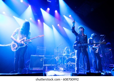 The Hague, the Netherlands - February 27, 2017 - British rock band Telegram performs live on stage at Paard van Troje music venue.