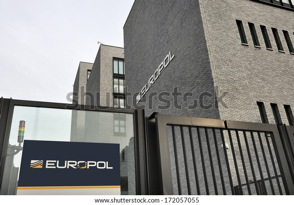THE HAGUE, THE NETHERLANDS , JANUARY 18, 2014: Photo of the new Europol Headquarter in The Hague, Den Haag, with the Europol sign. January 18,2014 The Hague, The Netherlands