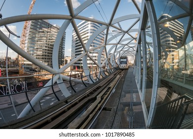 The Hague, Netherlands - january, 2018: Netkous viaduct at Beatrixkwartier with RandstadRail station. It is a modern construction designed by Zwarts & Jansma architects