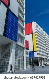 The Hague, The Netherlands - July 15, 2017: The Hague City Hall, with piet mondriaan anniversary design.