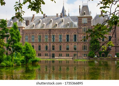 The Hague, Netherlands -  July 26  2013 : dutch parliament and his pond looks like a castle