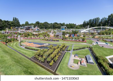 THE HAGUE,  THE NETHERLANDS - JULY 3, 2019: 1:25 scale objects in  Madurodam. Madurodam is a miniature park and tourist attraction in the Scheveningen district of The Hague in the Netherlands.