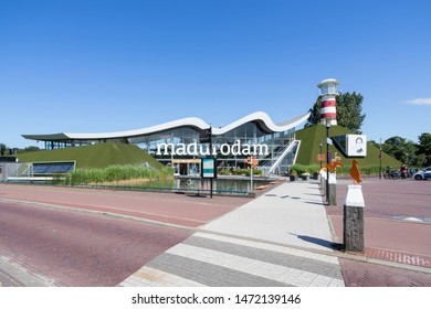 THE HAGUE,  THE NETHERLANDS - JULY 3, 2019: Madurodam entrance. Madurodam is a miniature park and tourist attraction in the Scheveningen district of The Hague in the Netherlands.