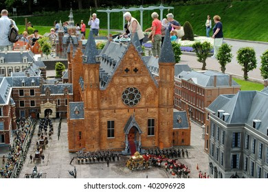 THE HAGUE, THE NETHERLANDS, July 5, 2012: Scale model of the Binnenhof, the Dutch House of Parliament, in Madurodam, a miniature park and a popular tourist attraction in the Netherlands.