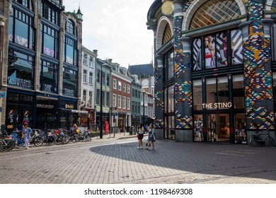 Hague, Netherlands - July 6, 2018: The city center of Den Haag are full of bars and stores all along the shopping streets. The third largest city in the country and a province of Nord Holland.