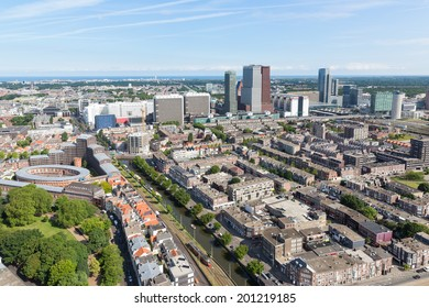 """THE HAGUE, THE NETHERLANDS - JUN 24: Aerial view of the city of The Haque with several governmental buildings seen from the skyscaper """"Haagse Toren' on June 24, 2014 in The Hague, the Netherlands"""