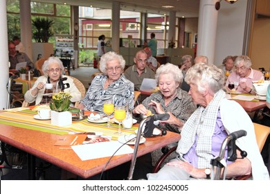 The Hague, The Netherlands - June 15, 2012: Seniors in a nursing home