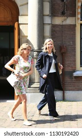 The Hague, The Netherlands - June 15, 2018: Minister of Internal affairs Kajsa Ollongren leaves the weekly Council of Ministers in the Hague