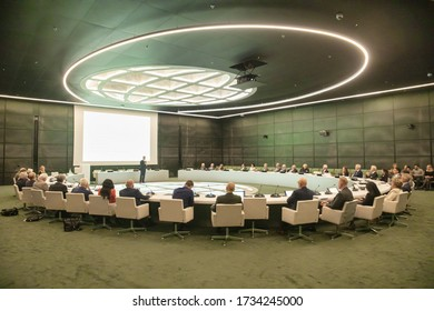 The Hague, Netherlands - june 19 2019: the MFA / ministery of foreign affairs has a huge conference meeting room for official political and diplomatic meetings.