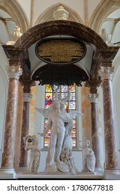 THE HAGUE, NETHERLANDS - JUNE 20, 2020: The interior of Grote of Sint Jacobskerk (an historic church with an iconic tower), with details (statues) of the monument to Wassenaer Obdam