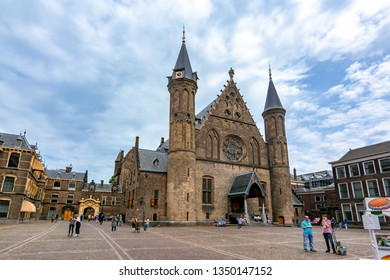 Hague, Netherlands - June 2018: Hall of the Knights (Ridderzaal) in courtyard of Binnenhof (Dutch parliament)