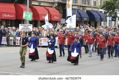 The Hague, The Netherlands - June 24, 2017: Dutch veterans march in the annual parade on veterans day in The Hague