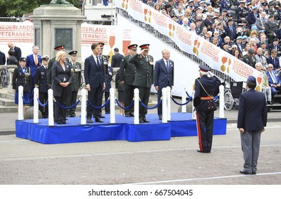 The Hague, The Netherlands - June 24, 2017: King Willem-Alexander, Premier Mark Rutte and Minister of Defence Jeanine Hennis Plasschaert  were present at the annual parade on veterans day in the Hague
