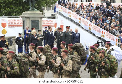 The Hague, The Netherlands - June 24, 2017: King Willem-Alexander, Premier Mark Rutte and Minister of Defence Jeanine Hennis-Plasschaert  were present at the annual parade on veterans day in the Hague