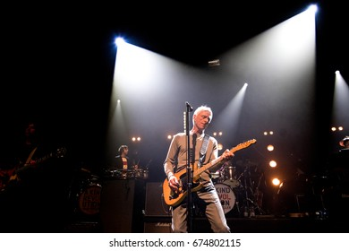 The Hague, the Netherlands - June 8, 2017: British rock musician Paul Weller performs live on stage at Paard music venue.
