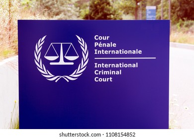 The Hague, Netherlands -june 8, 2018:  Sign of the international criminal court in the hague