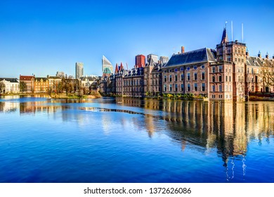 The Hague, Netherlands - March 23, 2019: The Binnenhof government buildings and surrounding landscaping in The Hague