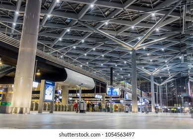 The Hague, The Netherlands, March 25, 2018: View of the glass roof of the new , tourist routes