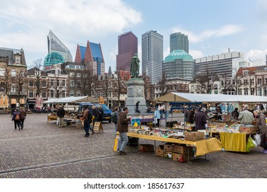 THE HAGUE, THE NETHERLANDS - MARCH 27: Unknown people at a bookmarket near the Dutch Government buildings on March 27, 2014 in The Hague, the Netherlands