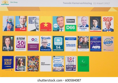 THE HAGUE, THE NETHERLANDS - MARCH 4, 2017: Board with the election posters of all Dutch political parties at the Binnenhof in The Hague, the Netherlands