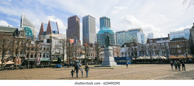 THE HAGUE, THE NETHERLANDS - MARCH 5, 2017: Het Plein (The Square) is a town square in the old city centre of The Hague in the Netherlands.