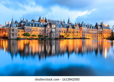 The Hague, Netherlands - May 04, 2019: Evening lights at Binnenhof palace