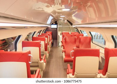 The Hague, Netherlands - May 07, 2018: Inside The NS Train of the Netherlands