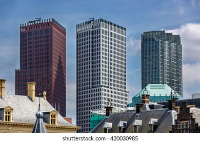 The Hague, Netherlands - May 12th 2014 - Nice modern buildings in a blue sky day, The Hague, Netherlands, Europe.