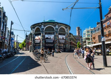 THE HAGUE, NETHERLANDS - MAY 26, 2017: View of the Noordeinde and Hoogstraat Street in the city center of The Hague. Its a shopping shopping street for luxury shopping and end at Gravenstraat.