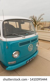 The Hague, the Netherlands - May 26 2019: classic vw kombi van parked at the air cooled motor show at Scheveningen beach