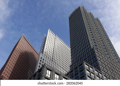 the hague , The Netherlands - may 27 , 2015: Hague skyline formed by the high rise buildings in the Wijnhavenkwartier in the hague