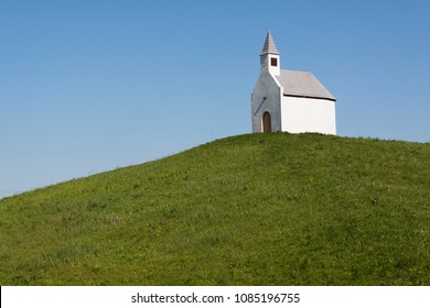 the Hague, Netherlands -may 4, 2018:  White chapel on a green hill in the Netherlands