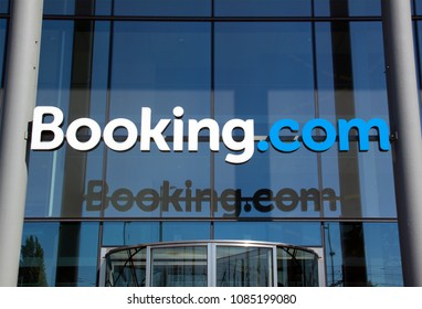 the Hague, Netherlands -may 6, 2018: Letters booking.com on the headquarter of booking.com in the Netherlans