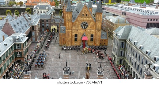 The Hague, Netherlands in miniature in the Madurodam, open air museum,-Miniature of coronation ceremony in the yard of church and parliament