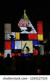The Hague, The Netherlands - November 17, 2018: Video projection on the Ridderzaal of Mondriaan