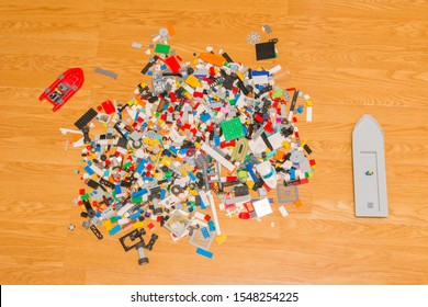 The Hague, the Netherlands - November 2 2019: child's lego pay toys simulating plastic soup in the earth's seas and oceans
