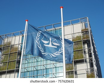 The Hague, Netherlands - November 3, 2017: The flag and the main building of International Criminal Court.