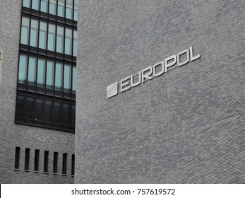 The Hague, Netherlands - November 4, 2017: The Europol wording on the head office in the Hague.