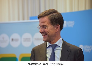 THE HAGUE, THE NETHERLANDS - NOVEMBER 7, 2018: Dutch Prime Minister Mark Rutte attends the debate at Nieuwspoort in The Hague.