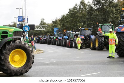 The Hague, The Netherlands - October 1, 2019: Many farmers are protesting in the Hague against forced shrinking of livestock and they want independent measurements of CO2 and nitrogen
